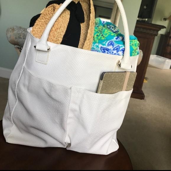 Neiman Marcus Handbags - Neiman Marcus Faux Snake Python Large Tote Bag